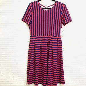 LuLaRoe Amelia XL Red Blue Striped Dress Pleated P